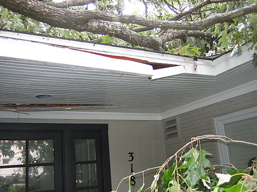 Damage to front entrance