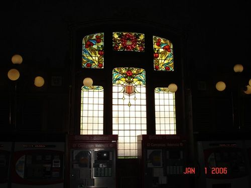 Stained glass in train station